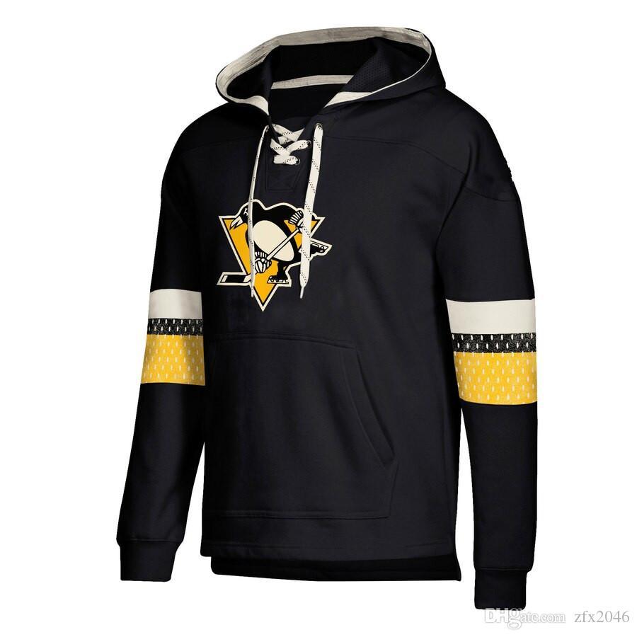 Pittsburgh tasarımcı hoodies Penguenler Jersey Dantel-Up Kazak Ekleme Beraberlik Dize Ile Tam Kollu Hoodie Siyah Tam Kollu Dikişli marka Logo
