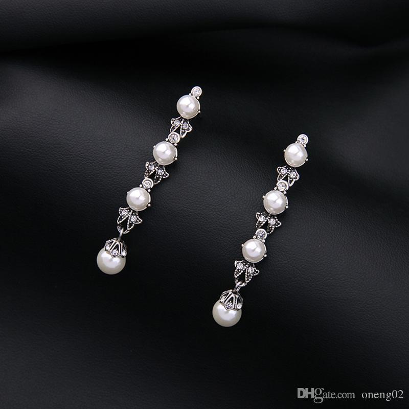 빈티지 진주 드롭 귀걸이 고대 슬리버 컬러 클래식 긴 매력 여성용 귀걸이 여성 결혼 보석 보석류 여성용 GiEarring 보석 선물