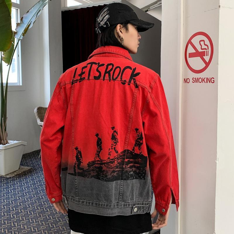 Red Jeans Veste Hommes Streetwear épissé Hip Hop Denim Jacket