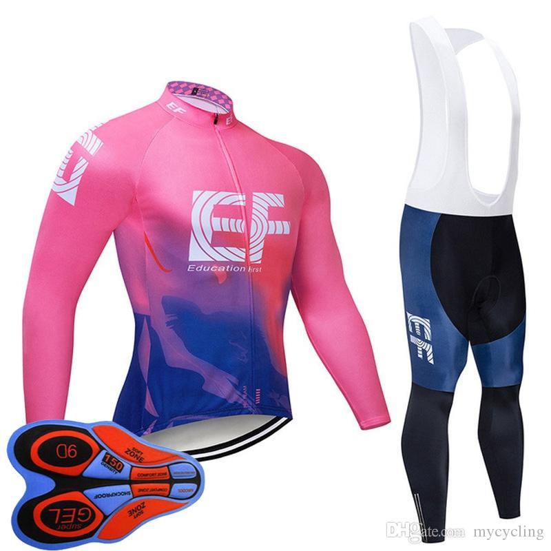 2019 EF equipe de ciclismo jersey terno Men Primavera / Outono respirável manga longa bicicleta Vestuário Corrida desgaste montanha bicicleta Outfits Y102301