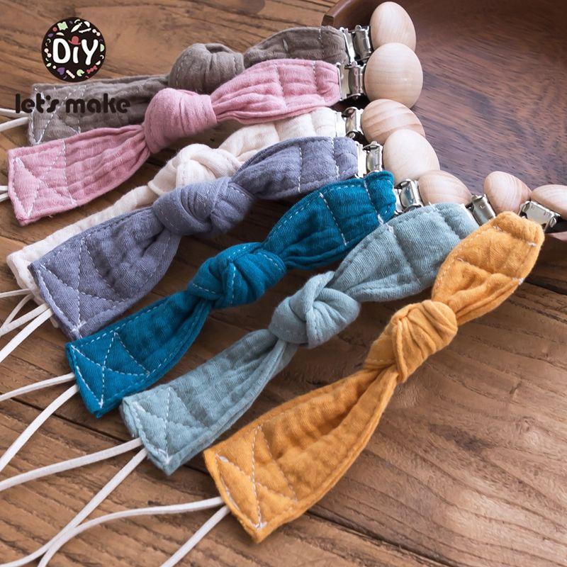 Lassen Sie uns 7pc Babyspielzeug Schnullerkette Personalisierte Schnuller Clip Holz-Halter für Nippel Cotton Nippelkette für neugeboren