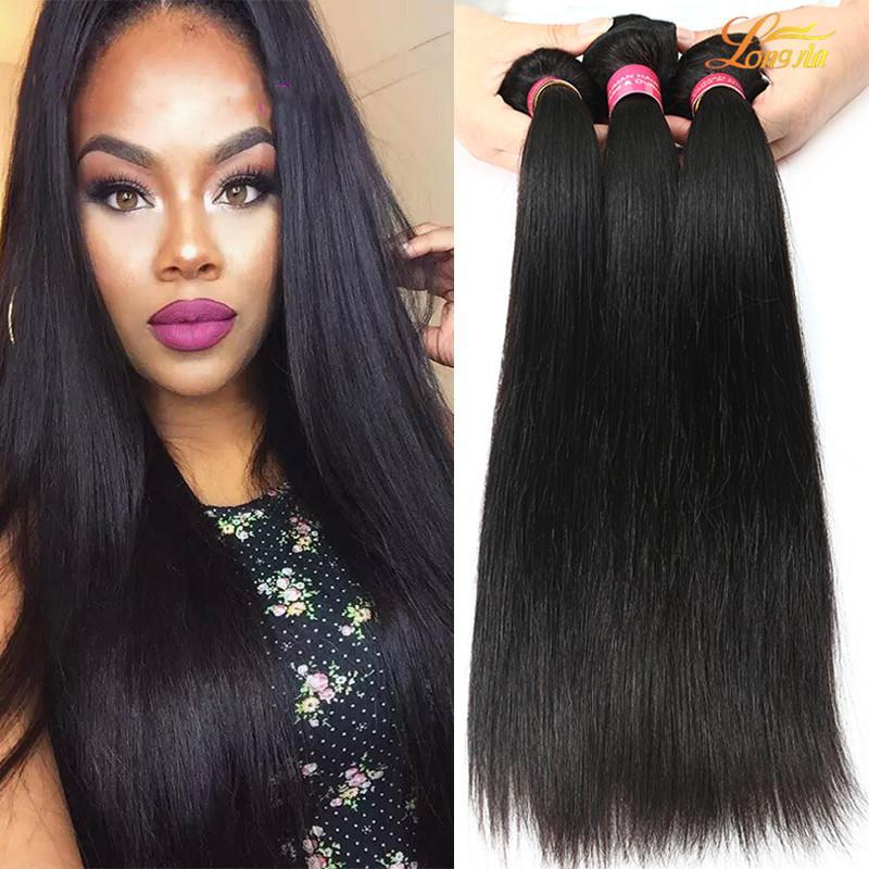 Fábrica de Malasia paquetes de pelo recto 100% Virgin pelo humano de la trama del color natural Dyeable barato de Malasia Cabello liso Paquetes trama doble