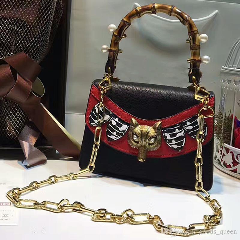 bamboo handle bag women Genuine Leather handbags pearl Snake heard crossbody bag women famous brand chain shoulder bags 2018 tote