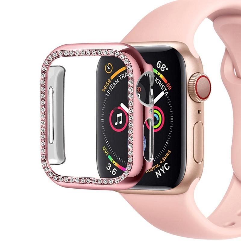 Diamante capa para Apple Watch 4 inteligente relógio 40 milímetros 44 milímetros capa dura PC Casos à prova de choque banhado Shell para iWatch 4 accessoires Shiring inteligentes