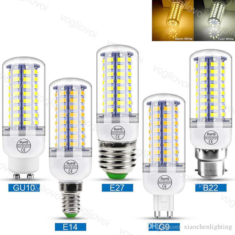 Lâmpadas LED 5730 SMD Holofotes de milho 3W 5W 7W 9W 12W 15W E27 GU10 110V 220V Branco Quente para a vela de candelabro interna eub