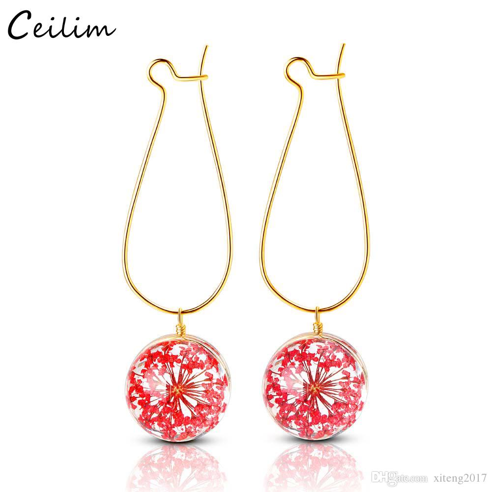 Gift for Girls and Women UK STOCK Glass Ball Drill Dry Flower Earrings