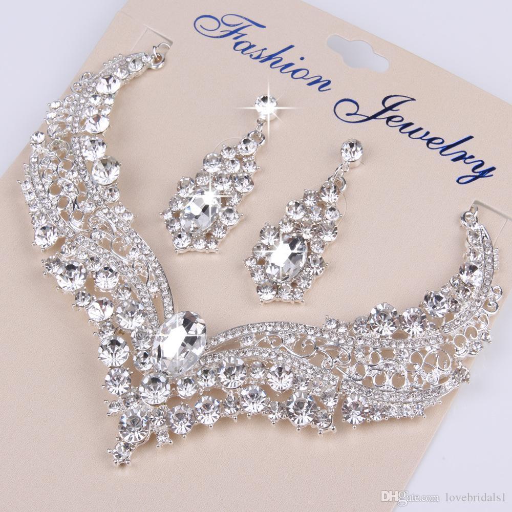 Crystal de luxe Bijoux de mariée Bijoux de mariée Collier scintillant et boucles d'oreilles ensembles de bijoux 2020