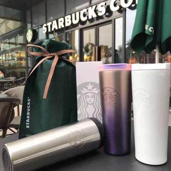 500ml Nouveau mode Starbucks embossé tête tasse gradient de lavande voiture tasse de café qui accompagne les couples de tasse bateau libre