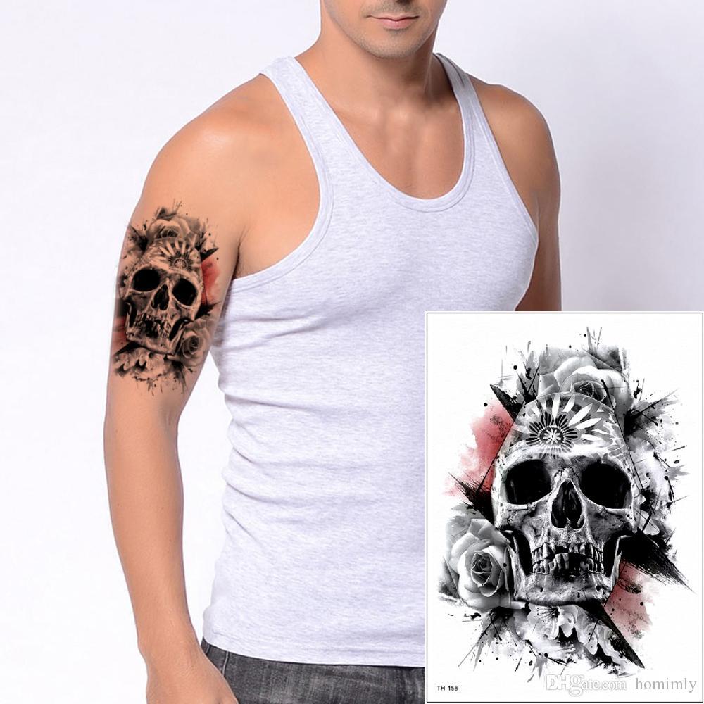 Skull Tattoo Designs per manicotti del braccio Uomo Donna Temporary corpo simulano i tatuaggi Sticker peste nera vernice Halloween Party di trucco di bellezza 3D TH-158