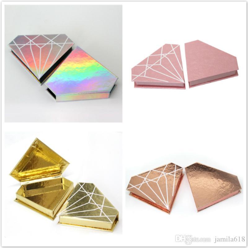 Luxury Diamond False Eyelashes Packaging Box 25mm Magnetic Eyelash Box Holographic Paper Cosmetics Fake Eyelash 3D Mink Lashes Packing Box