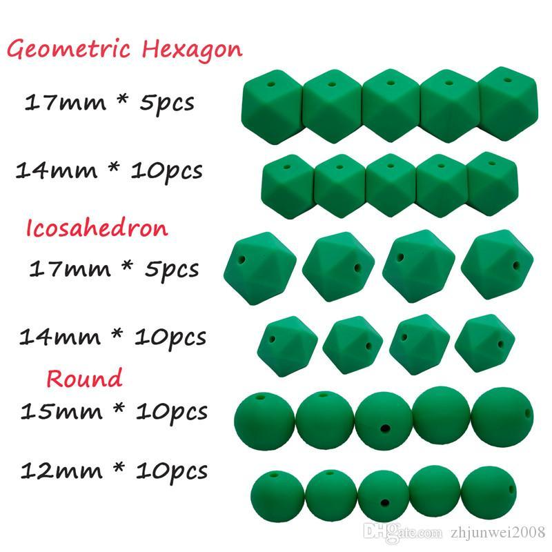 Kelly yeşil diş Kaşıyıcı Set altıgen Yuvarlak İcosahedron 50 adet DIY gıda sınıfı boncuk kolye Bilezik aksesuarları yapma