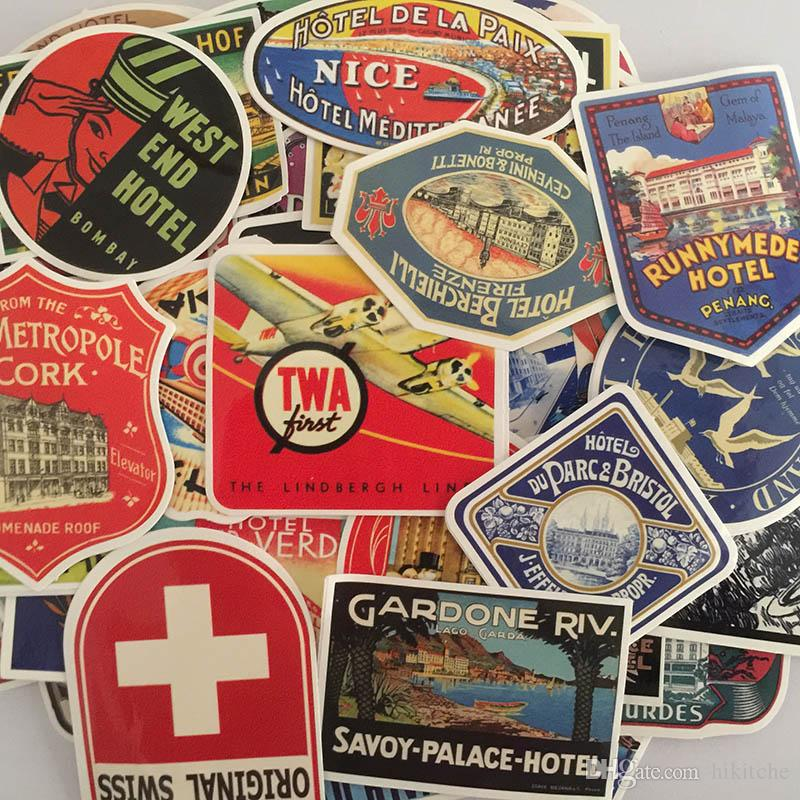 100 pcs / ensemble Rétro Style Voyage Hôtel Stickers JDM pour Ordinateur Portable Valise Bagages Vélo Skateboard Voiture Styling Vinyle Stickers DIY Autocollant