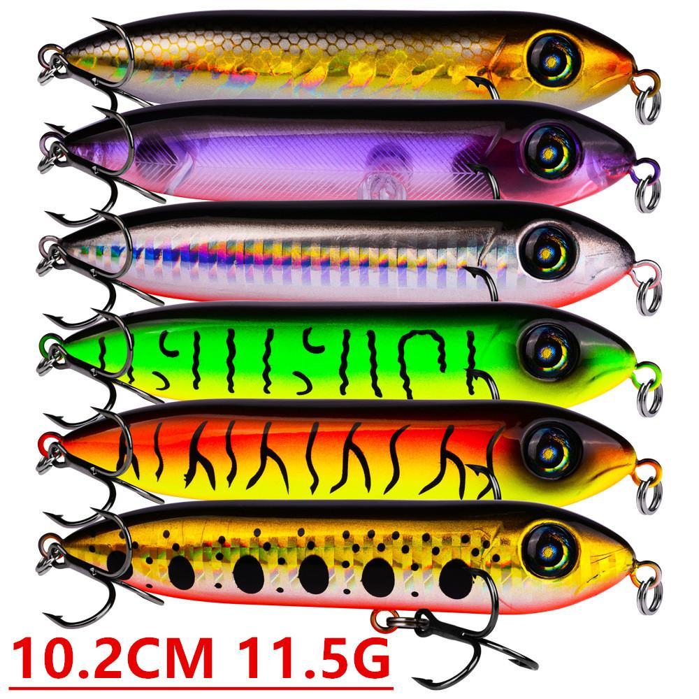 Mixed 6 Cor 10,2 centímetros 11,5 g Popper Fishing Hooks anzóis 4 # gancho plástico rígido Iscas Lures Pesca Pesqueiro Acessórios z-42