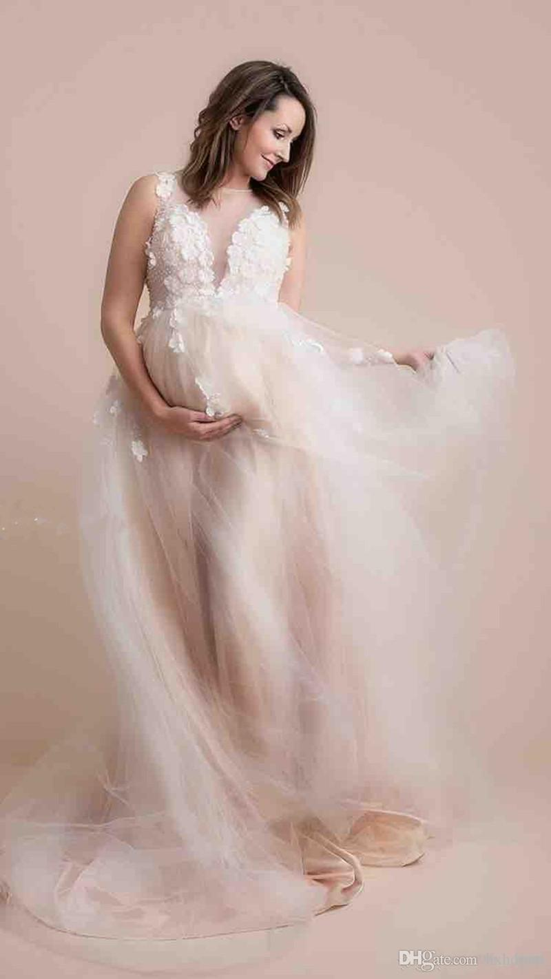2019 New Chic Beaded Maternity Wedding Dresses Appliqued Sheer