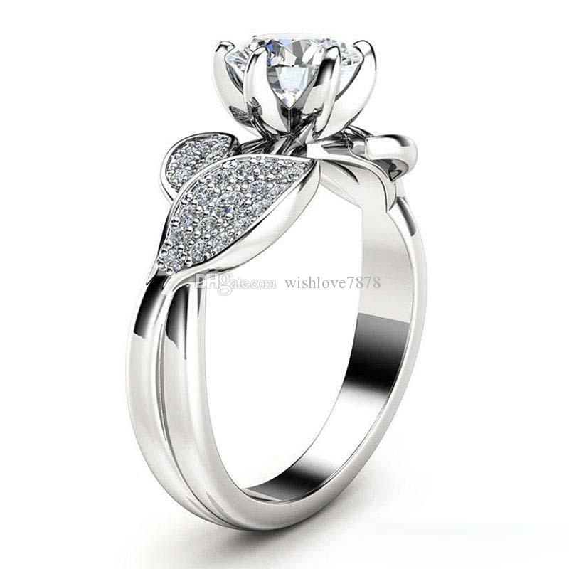Bague fleur de cristal de diamant Zircon Bagues de fiançailles Le nouveau concepteur de mariage bijoux de mode pour les femmes cadeau