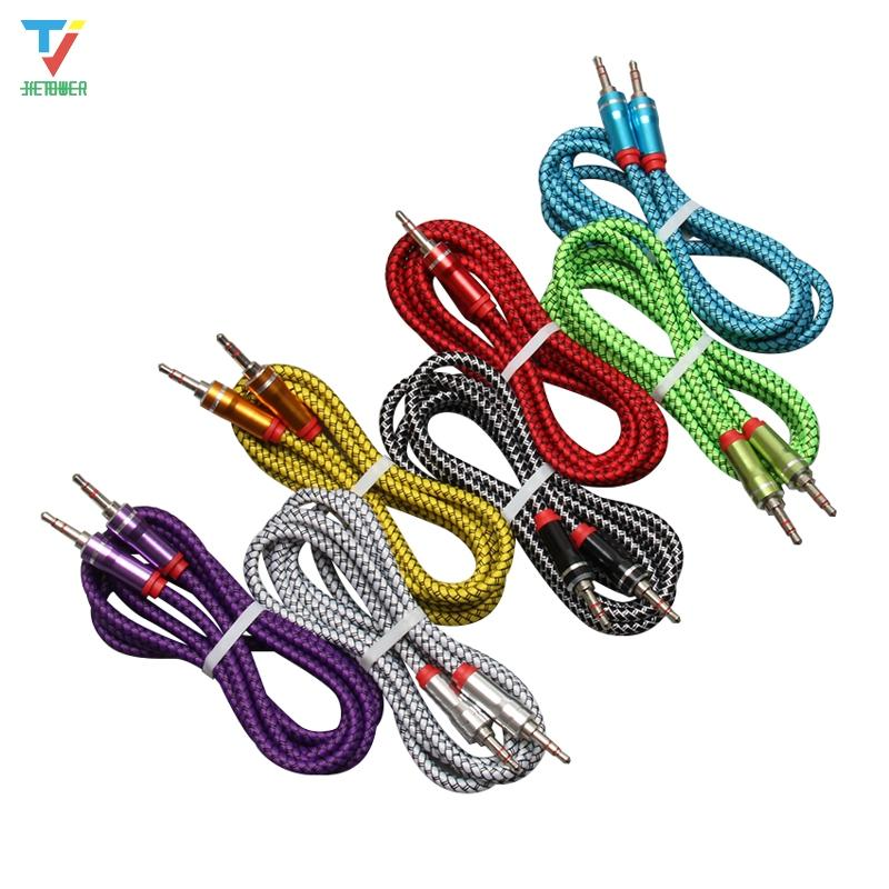 3.5mm Durable Leather woven braided audio cable 3.5 jack to jack aux cord 1.5m Headphone Speaker AUX Cable for iphone Car MP3 200pcs/lot
