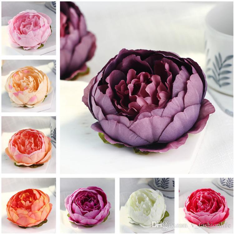 20Pcs 10cm künstliche Blumen für Hochzeit Dekorationen Silk Pfingstrose-Blumen-Köpfe-Partei-Dekoration-Blumen-Wand-Hochzeit Kulisse Weiße Pfingstrose