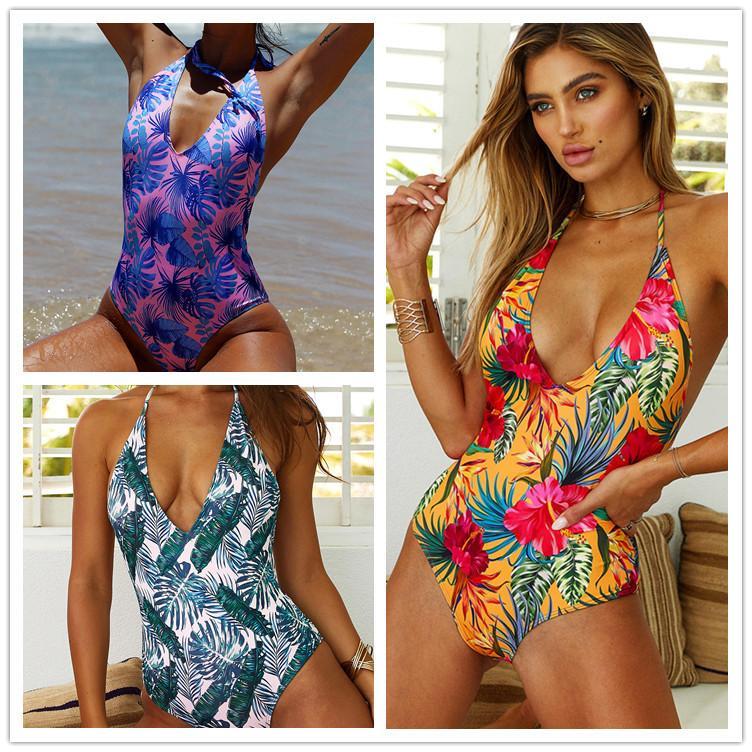 Bikini Designer-Mode neue Explosion Modelle in Europa und Amerika Blättern Schlinge eiligen Badeanzug Badeanzug Druck Großhandel