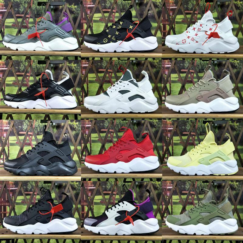 2020 Yeni Huarache Ultra Koşu Ayakkabıları 4 kadın ve erkek atletik Huaraches Spor ayakkabılar Meme Kanseri Huraches Spor Eğitmenler Ayakkabı Boyut 36-45