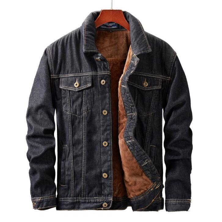 Herren Winterjacke und Mantel warme Fleece-Jeansjacke Mode-Männer Jean Jacken Outwear Male Cowboy asiatische Größe M-5XL