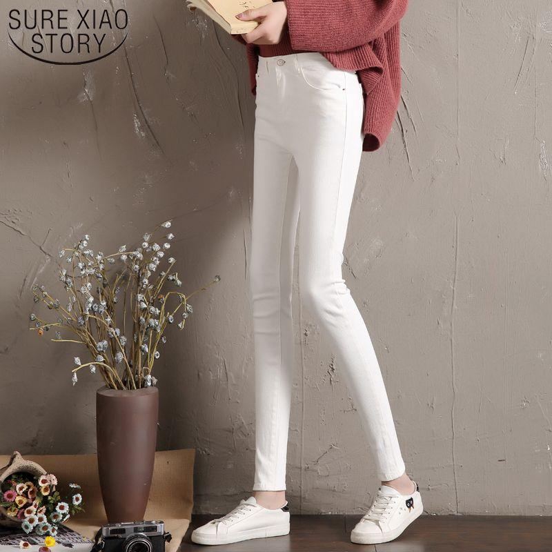 Jeans donna alti elasticizzati elastici jeans denim skinny 2019 New Jeans Donna nero Bianco vita alta 3641 50