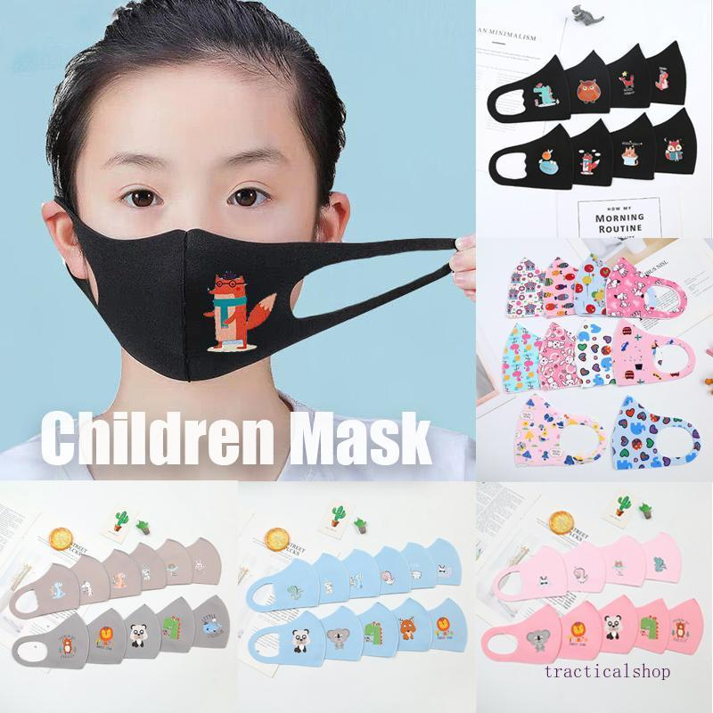 CHAUD! PM2,5 enfants Masques anti-pollution Garçons Filles Masques Cartoon Visage Bouche Enfants Anti-poussières respirables Earloop Lavable réutilisable coton masque