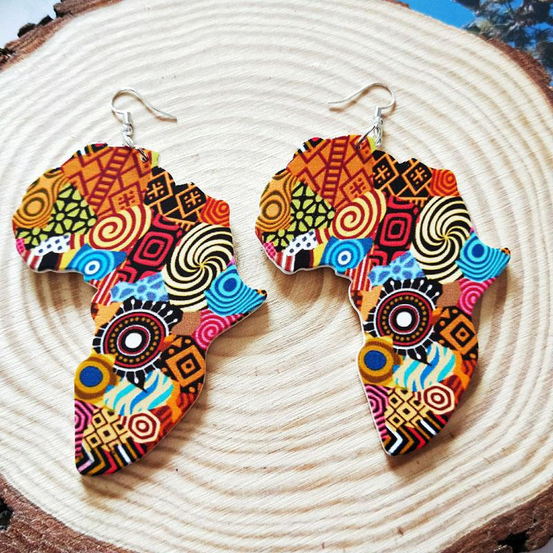 Wood Africa Map DIY Colorful Painting Afro Vintage Earrings Round Wooden Boho African Bohemia Ear Jewelry Party Accessory