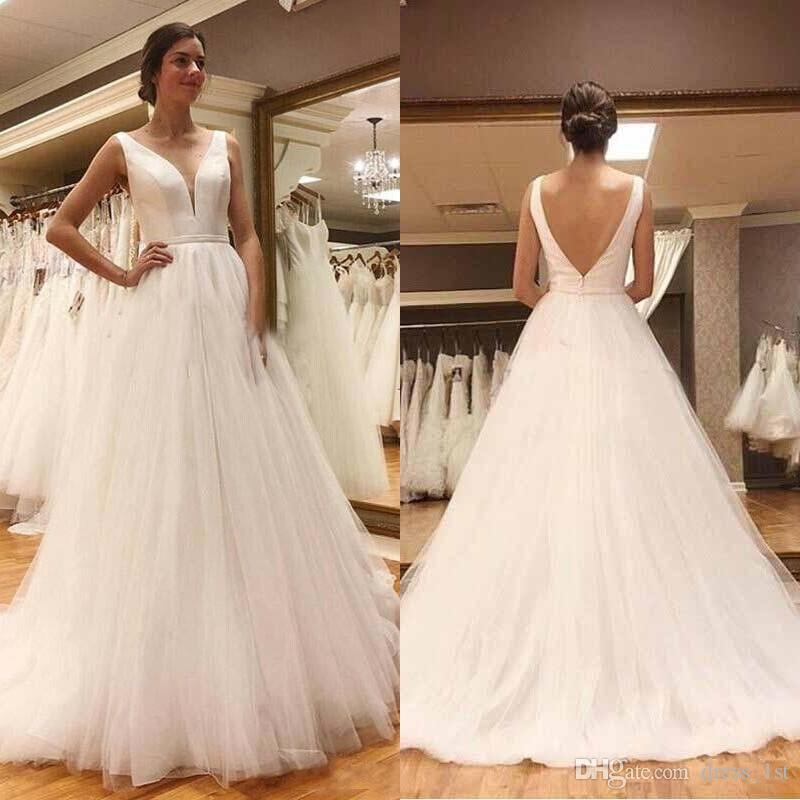 Fall 2019 Cheap Beach Wedding Dresses Simple A Line Sweep Train Ivory Satin and Tulle Bridal Gowns