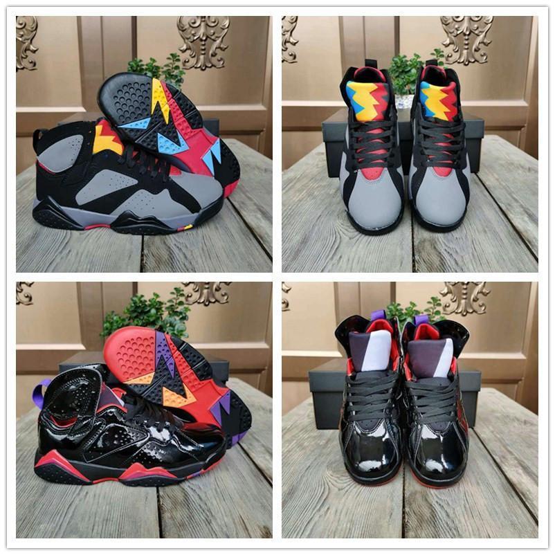 J7 WMNS Черный лакированной кожи Антрацит дымковый Мужчины Женщины Баскетбол обувь Спорт кроссовок 7S Бордо Серый дамы Mens конструктора Trainer