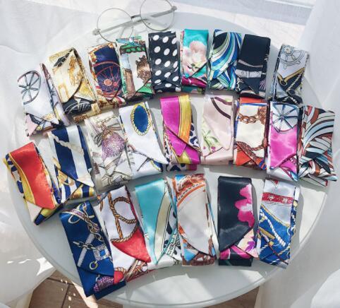 جديد متعددة الوظائف وشاح الحرير الصغيرة حقيبة مقبض 12 ألوان الأزياء الشعر الفرقة الشريط المرأة الحجاب الحرير والأوشحة التفاف