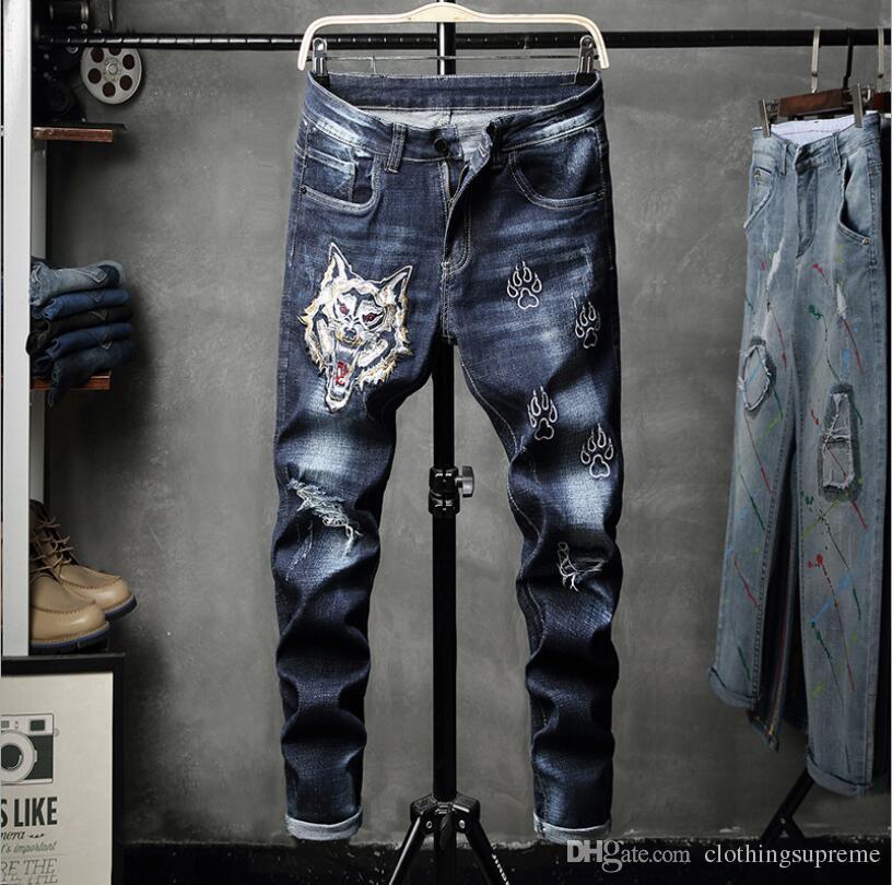 Nuevo diseñador para hombre Jeans Flaco Casual de lujo Jeans moda tigre bordado delgado motocicleta Biker Denim pantalones