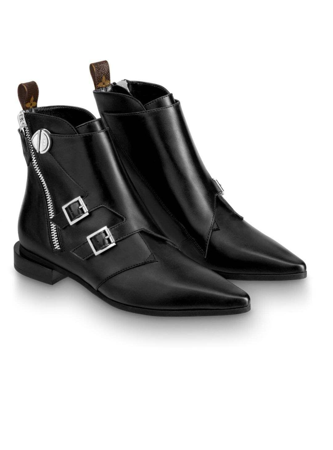 Flower Tip Side Zipper and Ankle Boots lady woman Punk Belt Button Stitching Zipper boots leather Girl