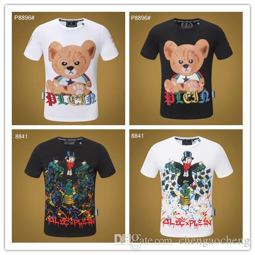 2019 Nueva camiseta de algodón de verano Floral Snake Print moda manga corta camiseta de los hombres de la marca camiseta de hombre de lujo Homme # 99307