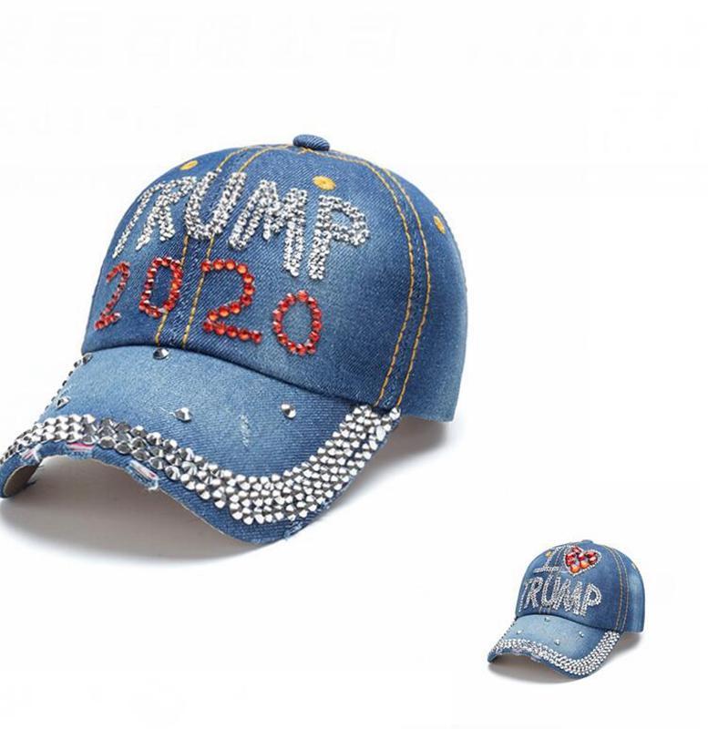 Donald Trump Hat rhinestone 2020 Donald Trump Hat Re-Election Baseball cap Outdoor Adjustable Snapback hat KKA7736