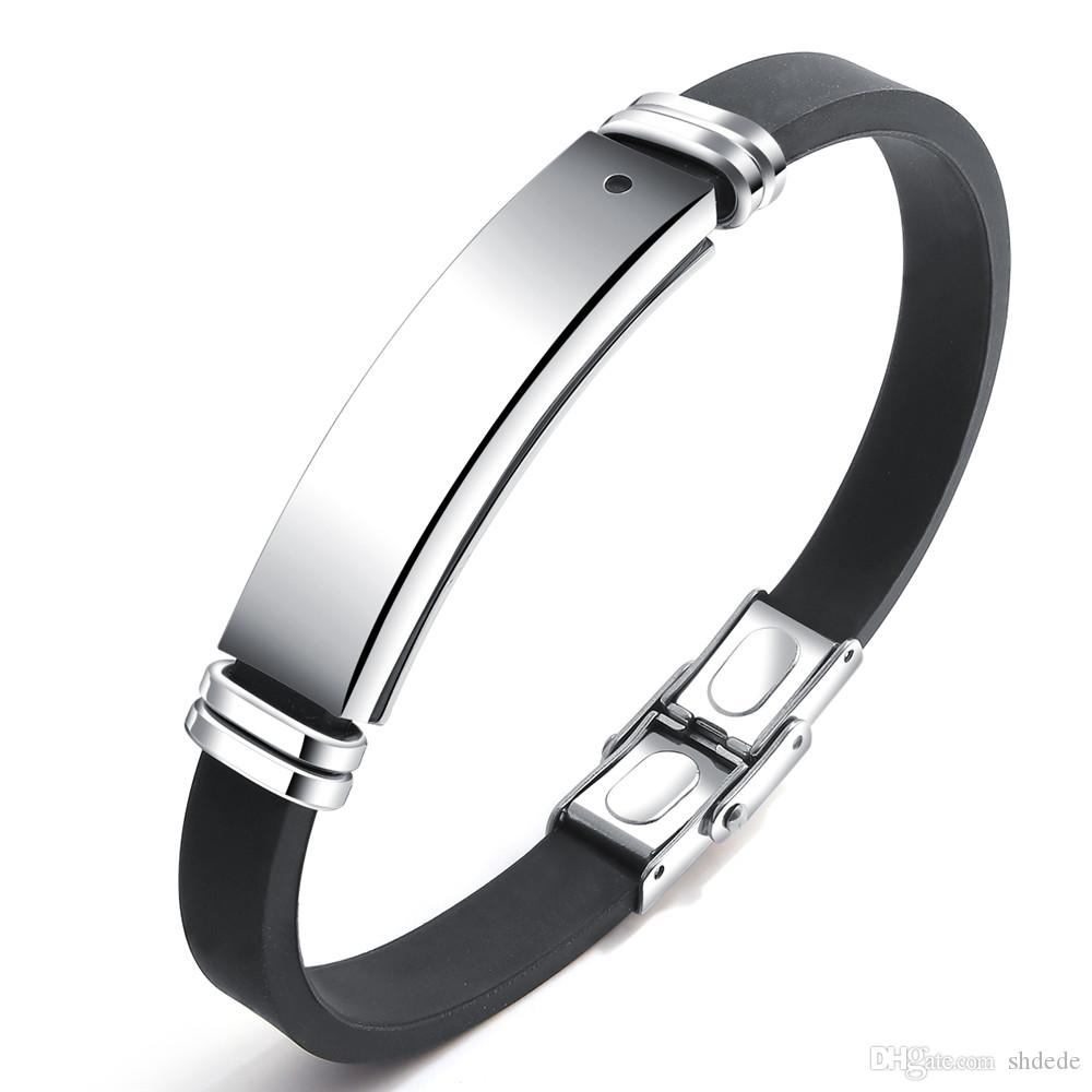 Paslanmaz Çelik Engravable Erkekler Bilezik Kimliği Bileklik Sağlıklı Enerji Siyah Taş Manyetik Terapi Bilezik Silikon Ayarlanabilir Boyut PH1276