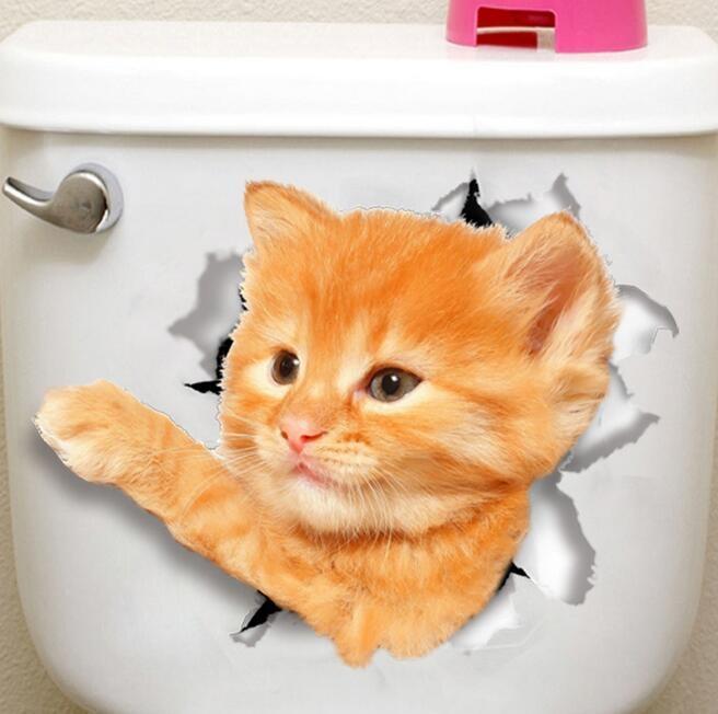 Wall agujero visión vivo Gatos 3D etiqueta de la pared de la sala de baño WC Decoración Animal vinilo etiquetas del arte del cartel de la etiqueta engomada