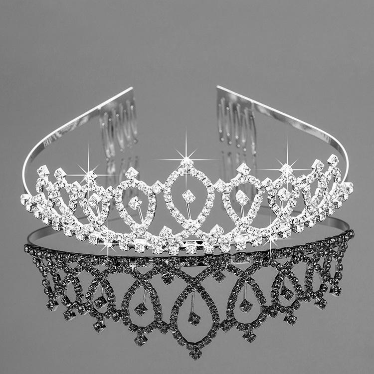 Hermosa tiara nupcial del partido brillante cristalina del desfile de plateado plata corona de la venda wedding Accesorios Tiaras