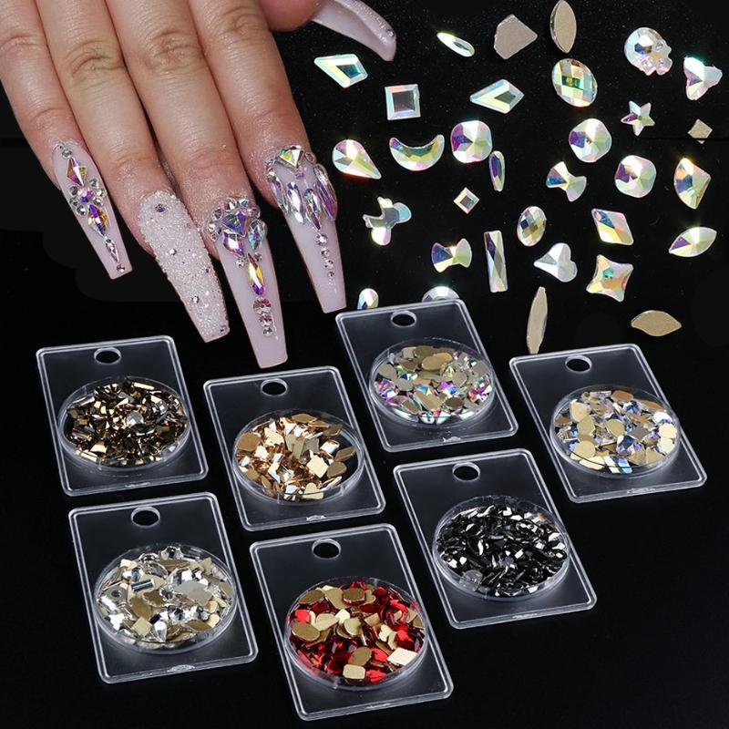 1 Caja diseño mezclado clavo de diamantes de imitación de piedra irregular de vidrio posterior plana de cristal de diamante falso del clavo de la decoración del arte Gems TR1568 joyería