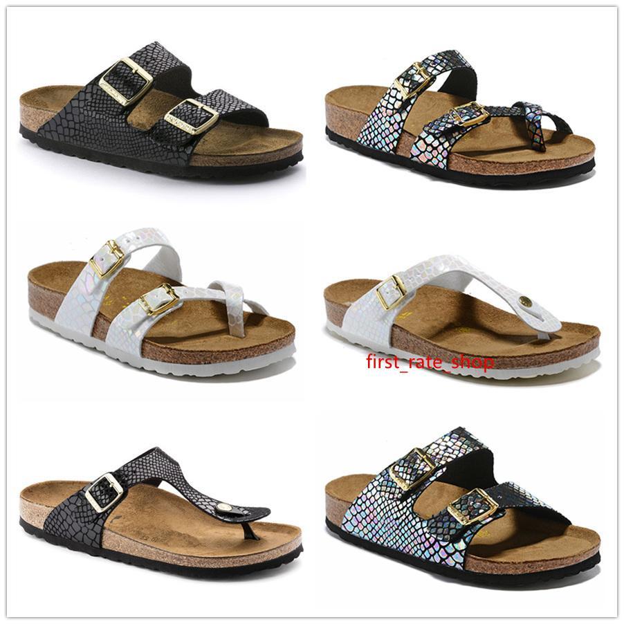 Sirena Mayarí Arizona Gizeh 2019 del verano mujeres de los hombres zapatillas sandalias de corcho pisos unisex zapatos casuales imprimen colores mezclados planos de la manera 34-46