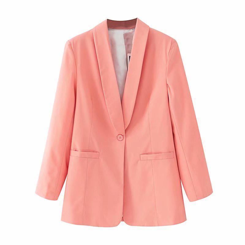 Traje sólido de color chaqueta de la chaqueta de la capa de las mujeres de moda de manga larga elegante de las mujeres individuales botón se adapta mejor chaqueta de las señoras femeninas