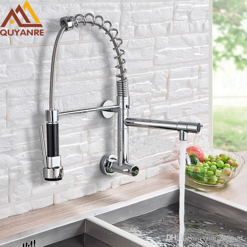 2019 Wall Mounted Spring Kitchen Faucet Pull Down Sprayer Dual Spout Single Handle Mixer Tap Sink Faucet 360 Rotation Kitchen Faucets From