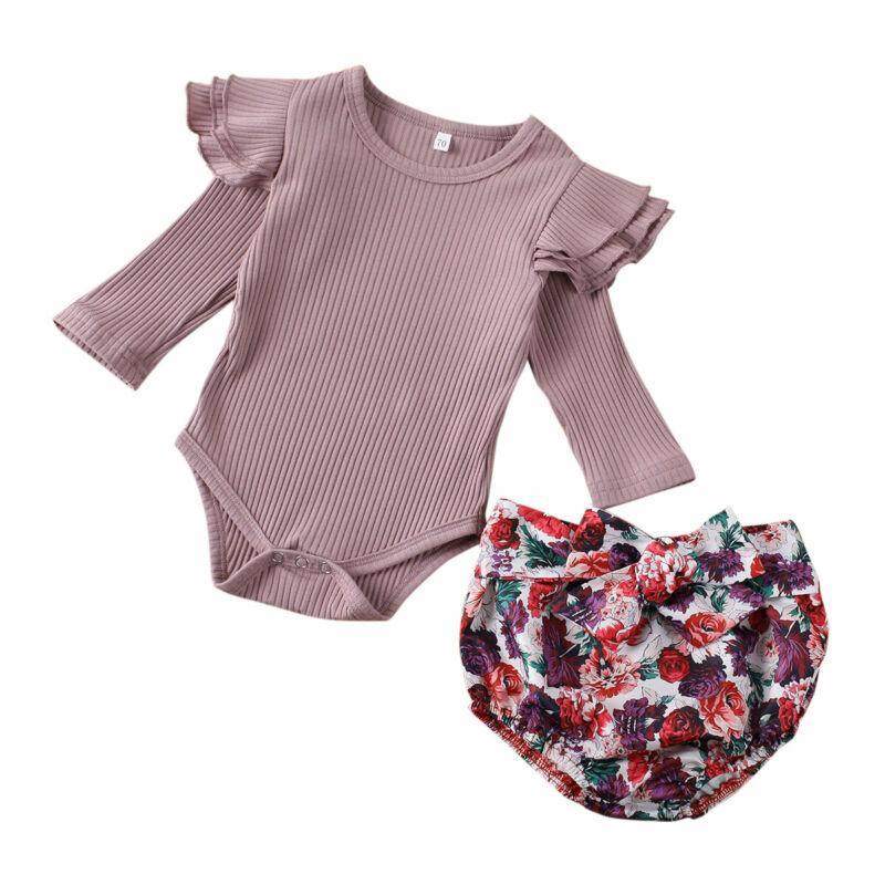 0-24M Neugeborene Kleinkind-Baby-Kleidung-Set Rüsche Langarm-Baumwollspielanzug Tops + Flower Hosen Outfits Sets