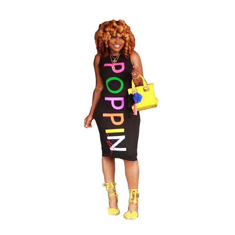 2019 Yeni Moda Seksi Silm Mektup Poppin Kolsuz Bodycon Elbise Kadınlar Için Elbiseler J190614