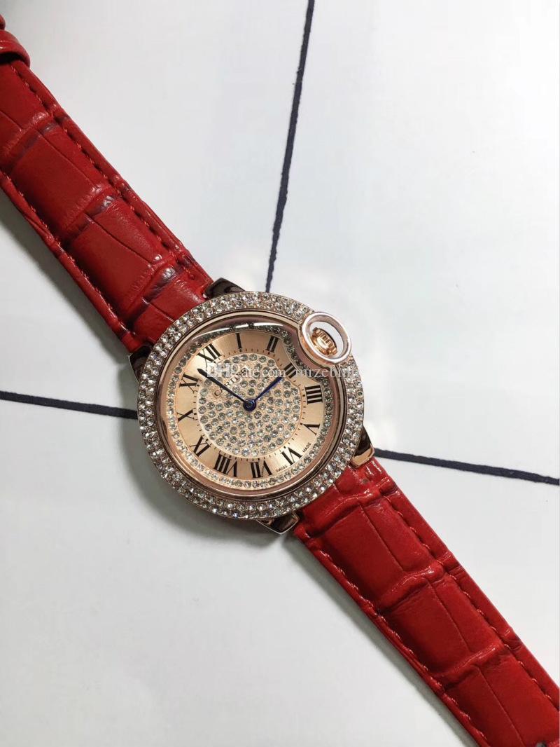 2 аналоговых новый полный алмазов часы моды Марка Роскошные часы женщина платье конструктора женщин Часы Rose Gold Lady Наручные Часы Mujer
