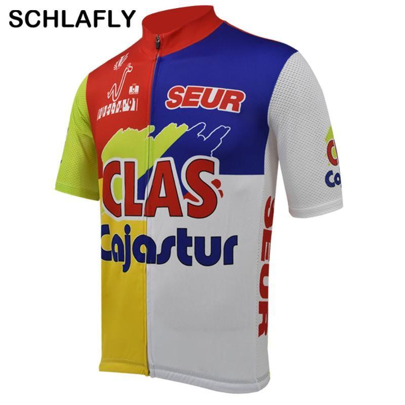 Homens Vuelta a Espana 1991-1spain cycling jersey estilo velho verão de manga curta desgaste moto jersey estrada de ciclismo roupas Schlafly