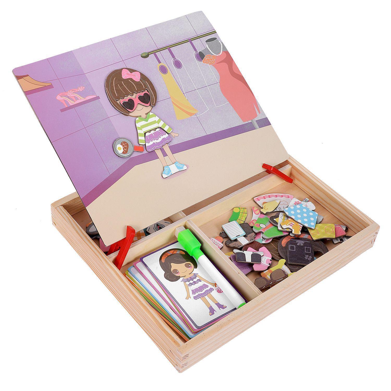 Manyetik Eğlenceli Yapboz Çocuk Ahşap Bulmaca Kurulu Kutusu Adet Oyunları Karikatür Eğitim Çizim Bebek Oyuncakları Kız Erkek, Va