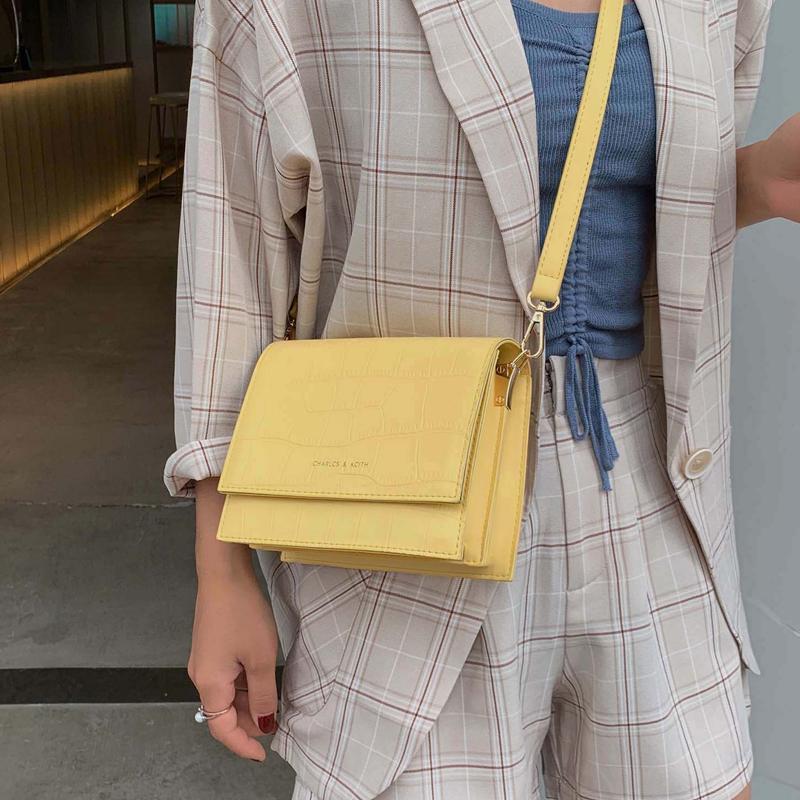 Простой и универсальный женский крокодиловый узор модный дизайн обложка сумка Сумка сладкий сплошной цвет многослойная сумка-мессенджер