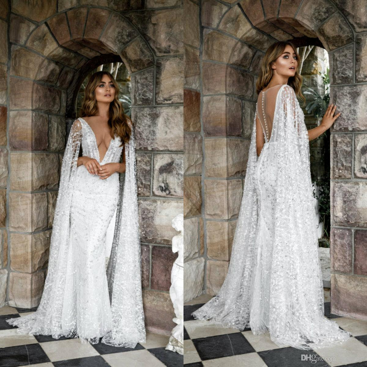 2019 Gorgeous Mermaid Wedding Dresses With Wrap Lace Appliqued Sweep Train Bohemian Wedding Dress Sexy V Neck Country Bridal Gowns