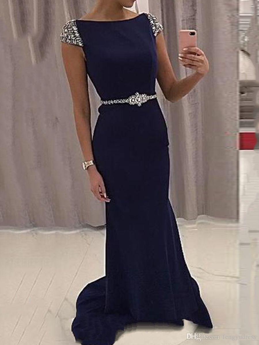 Fengyudress 보석 목 인어 이브닝 드레스 반팔 섹시한 V-다시 파란색 바닥 길이 긴 댄스 파티 파티 드레스와 벨트
