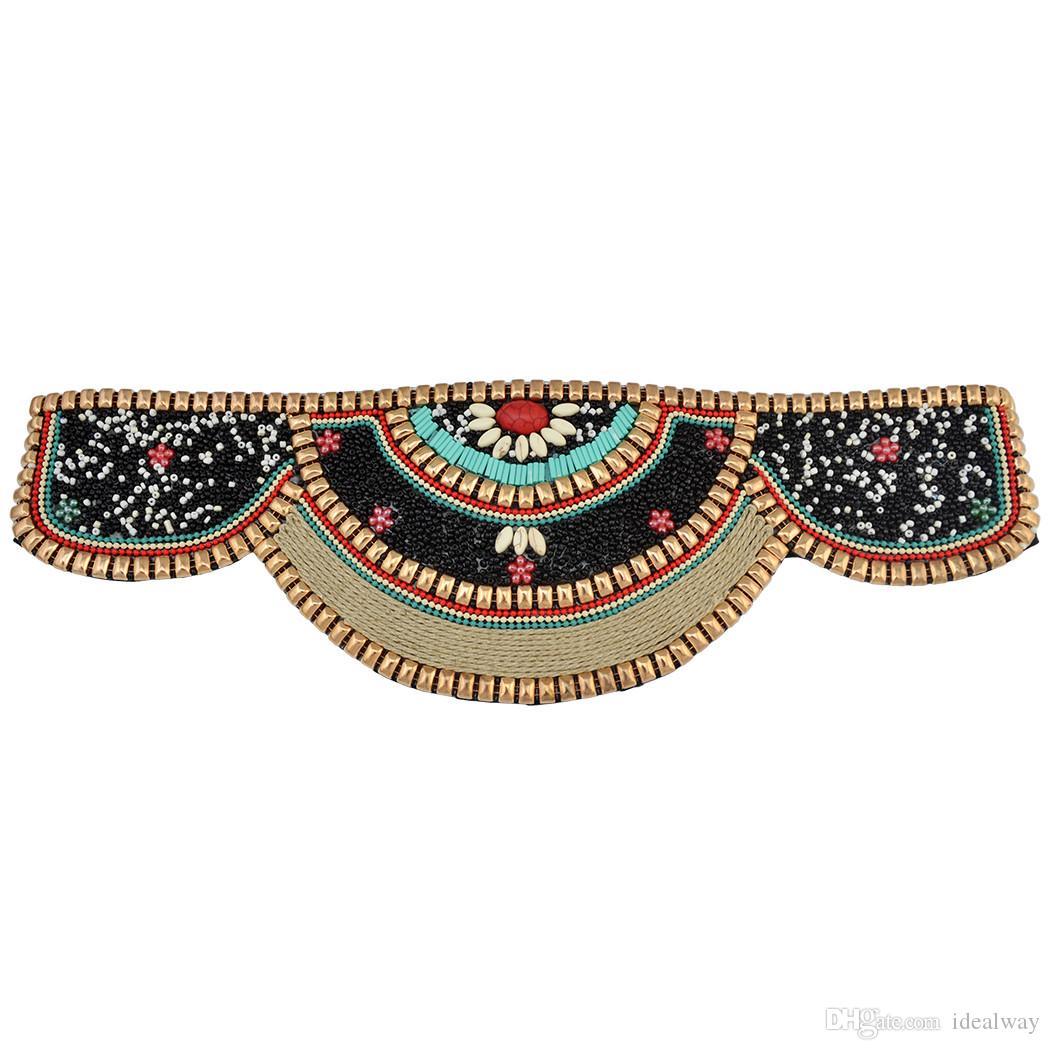 الموضة الأوروبية والأمريكية الرجعية وطنية على غرار مبالغ فيها الأرز حبة المعادن الملمس الخصر سلسلة طويلة نساء مجوهرات هدية